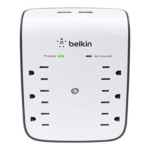 Belkin 6-Outlet USB Surge Protector, Wall Mount - Ideal for Mobile Devices,...