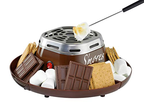 Nostalgia Indoor Electric Stainless Steel S'mores Maker with 4 Compartment...