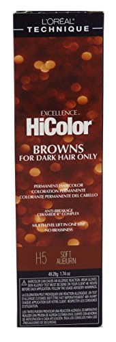 Loreal Excellence Hicolor H05 Tube Soft Auburn 1.74 Ounce (51ml) (2 Pack)