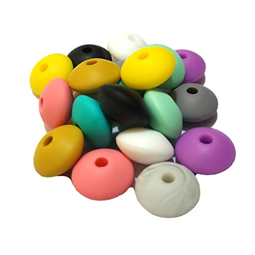 Arakierst 100pcs Silicone Abacus Pearl Bead 12mm Silicone Flat Spacer Beads...