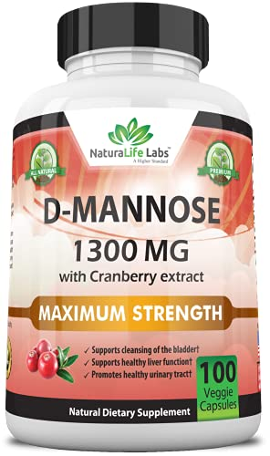 D-Mannose 1,300 mg with Cranberry Extract Fast-Acting, Flush Impurities,...