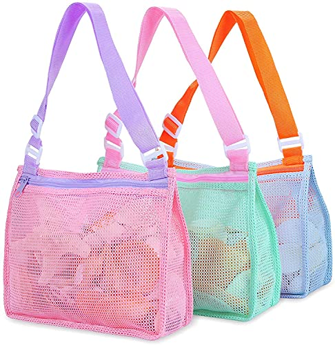 Beach Toy Mesh Bag Kids Shell Collecting Bag Beach Sand Toy Totes for...