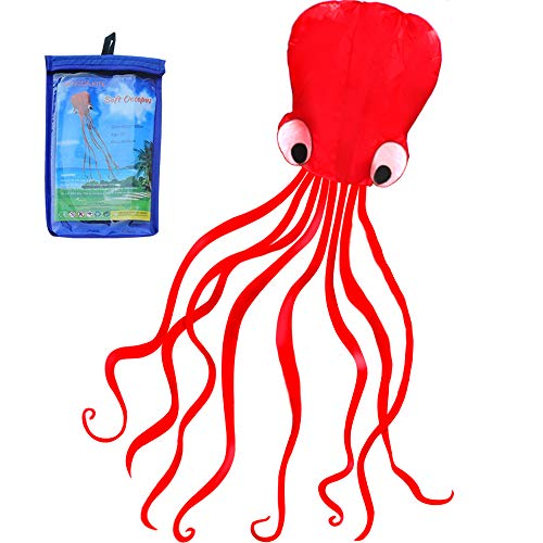 HENGDA KITE Software Octopus Flyer Kite with Long Colorful Tail for Kids,...