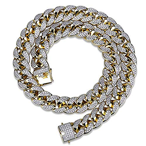 TOPGRILLZ 18mm 18K Gold Plated Iced Out CZ Lab Diamond Miami Mens Choker...