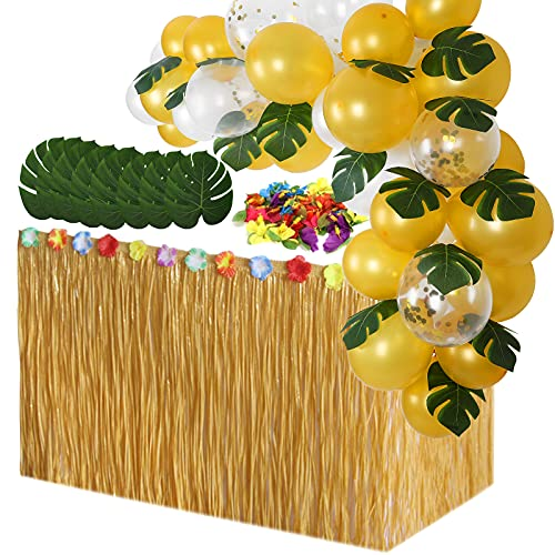 Luau Grass Table Skirt with Balloons Garland, Hibiscus Flowers, Palm...