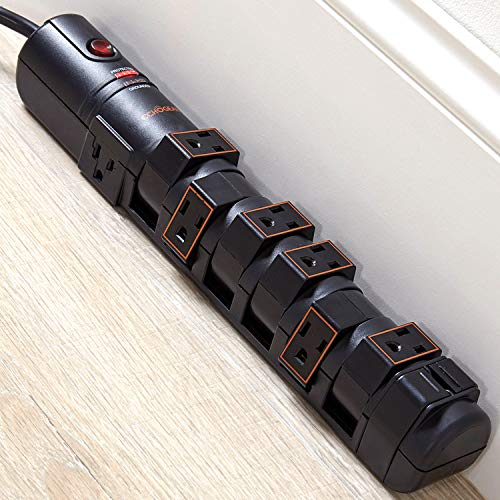 ECHOGEAR Rotating Surge Protector with Flat Plug, Long Cord, & Mounting...