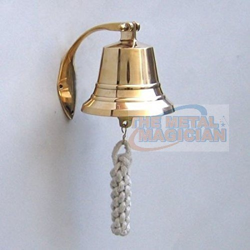 The Metal Magician Nautical Hanging Wall Mountable 4' Solid Brass Ship Bell