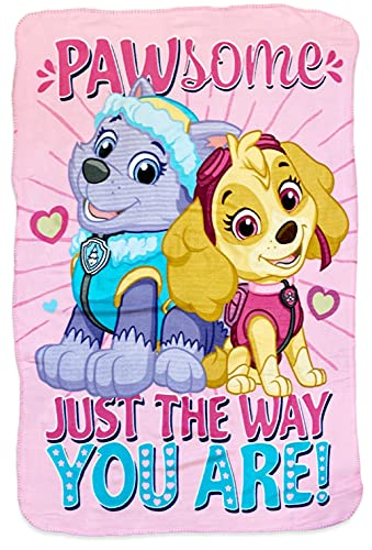 Girl Paw Patrol Skye with Doggy Prints and Stars Throw Blankets
