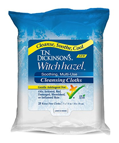 T.N. Dickinson's Witch Hazel New Soothing MultiUse Cleansing Cloth, Clear,...