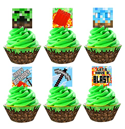 Pixel Miner Cupcake Toppers and Wrappers - 24 Cupcake Toppers and 24...