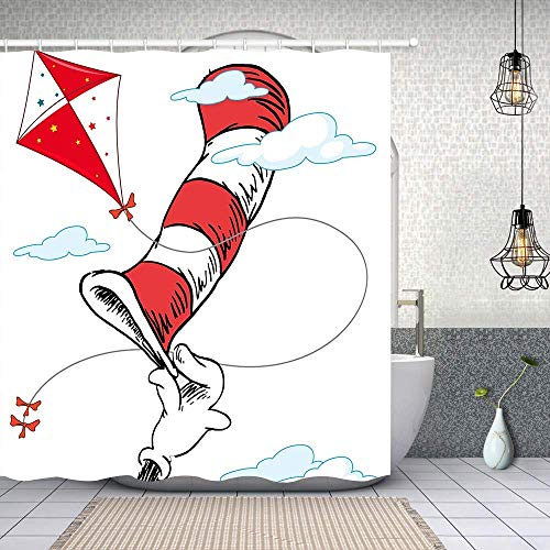 doormatscool Cat Hat Dr Seuss Day Shower Curtain Red and White Striped Hat...