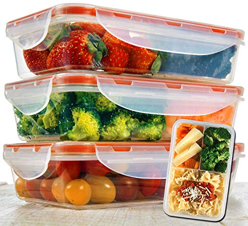 Bento Lunch Box 3pcs set 24oz - Meal Prep Containers Microwavable - BPA...