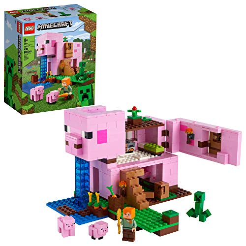 LEGO Minecraft The Pig House 21170 Minecraft Toy Featuring Alex, a Creeper...