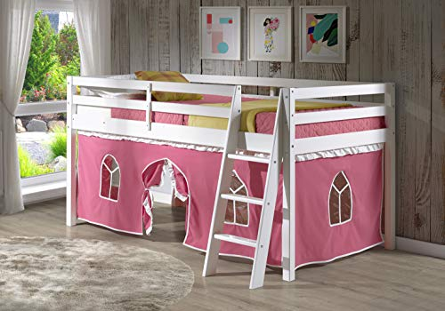 ALATERRE FURNITURE Roxy Pine Twin Junior Loft Bed, White with Pink & White...