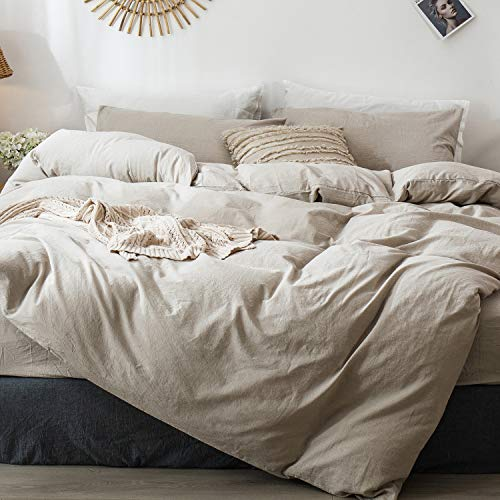 MooMee Bedding Duvet Cover Set 100% Washed Cotton Linen Like Textured...