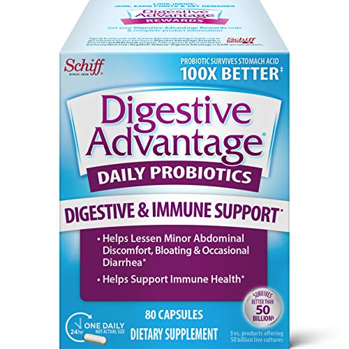 Digestive Advantage Daily Probiotic Capsules (80 Count In A Box), Helps...