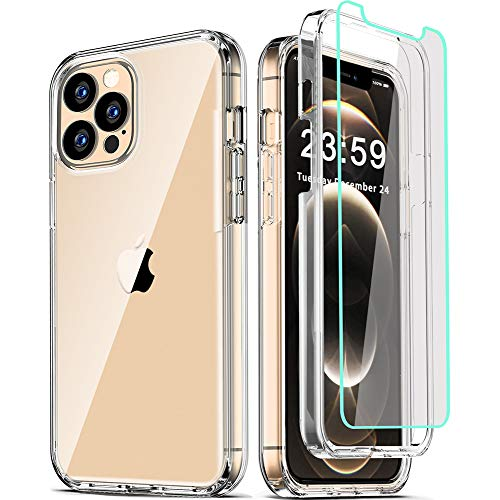 COOLQO Compatible for iPhone 12 Pro Max Case 6.7 Inch, with [2 x Tempered...