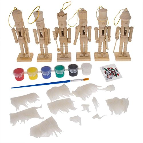 BestPysanky Set of 6 Unfinished Wooden Nutcrackers DIY Craft Kit 5 Inches