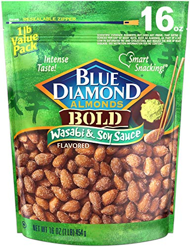 Blue Diamond Almonds Wasabi & Soy Sauce Flavored Snack Nuts, 16 Oz...