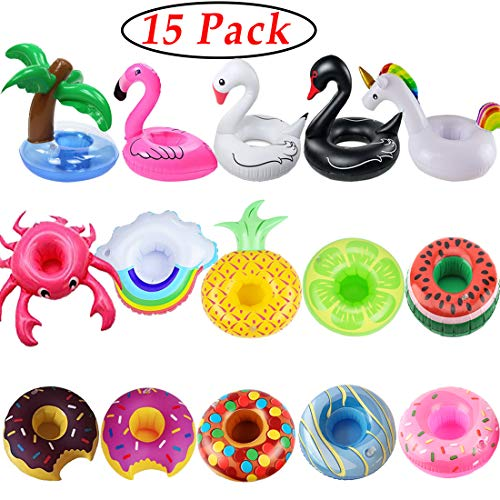 iShyan Inflatable Drink Holder, 15 Pack Drink Floats Inflatable Cup Holders...