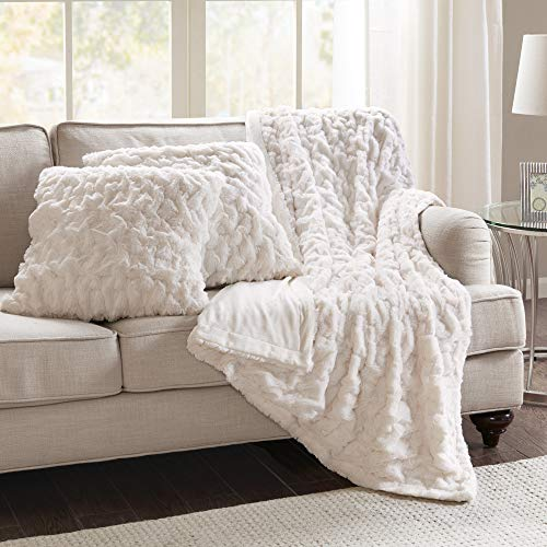 Comfort Spaces Ruched Faux Fur Plush 3 Piece Throw Blanket Set Ultra Soft...