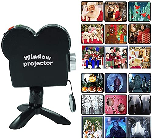Halloween Christmas Window Projector, Portable Holographic Projection with...