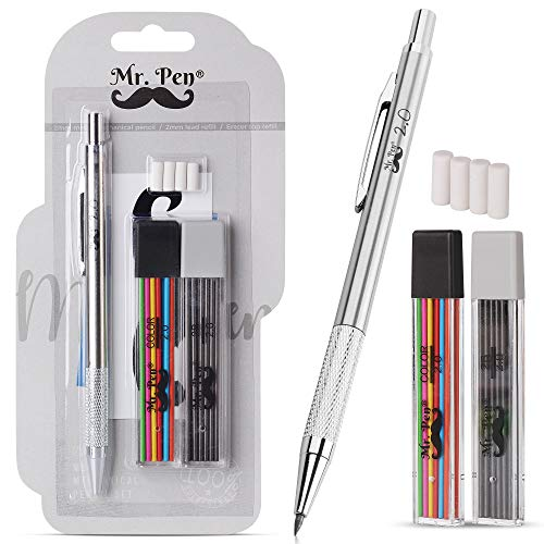 Mr. Pen- Mechanical Pencil 2mm, 1 Metal Mechanical Pencil with 2 Pack of...