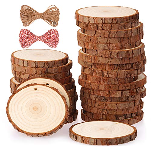 Fuyit Natural Wood Slices 30 Pcs 2.4-2.8 Inches Craft Wood Kit Unfinished...