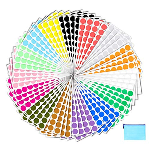 Pack of 2400 3/4' Round Color Coding Circle Dot Sticker Labels - 15...