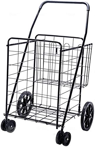 LS Jumbo Deluxe Folding Shopping Cart with Dual Swivel Wheels and Double...