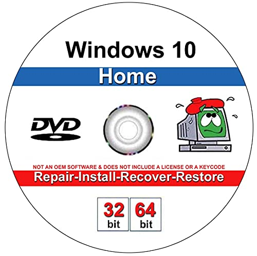 9th and Vine Compatible Windows 10 Home 32/64 Bit DVD. Install To Factory...