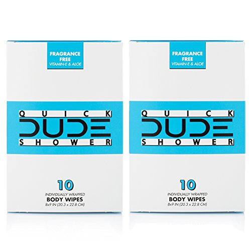 Dude Products Shower Body Wipes, Portable Travel-Sized Individual Cleansing...