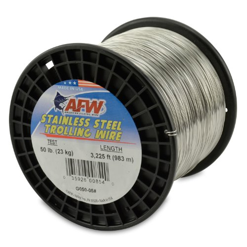 American Fishing Wire Stainless Steel Trolling Wire, 50-Pound Test/0.61mm...