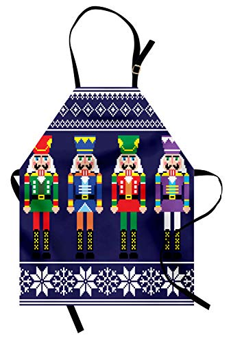 Lunarable Nutcracker Apron, Colorful Retro Style Pattern with Xmas and...