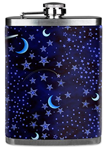 7 Oz Hip Flask with Insulated Wetsuit Cover - Blue Stars - Image by Dan...