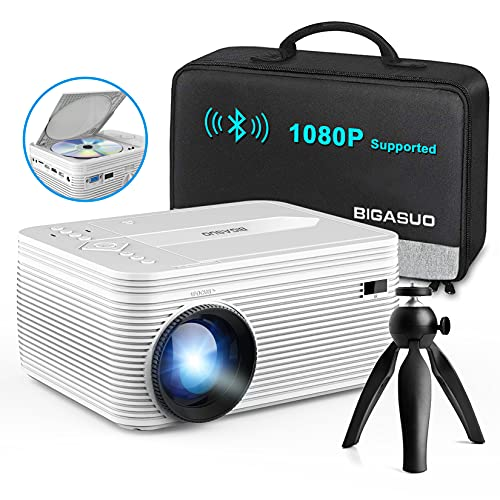 BIGASUO [2021 Upgrade] Full HD Bluetooth Projector with Built-in DVD...