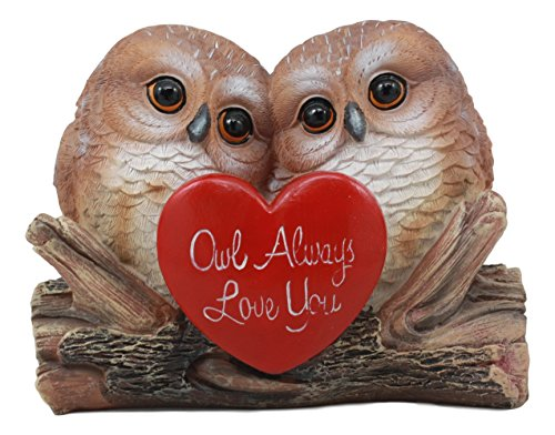 Ebros Romantic Owl Couple Statue Wisdom of The Forests Love Birds Pair of...