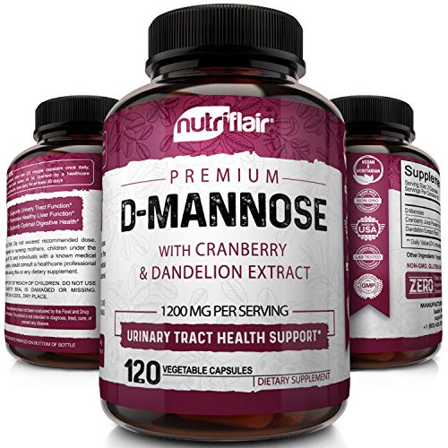NutriFlair D-Mannose 1200mg, 120 Capsules - with Cranberry and Dandelion...