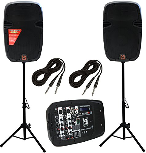 Mr. Dj PBX210COMBO Portable 2x10 2-Way Active Speaker System with...