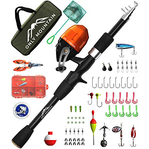 ONLY MOUNTAIN Kids Fishing Pole - Telescopic Fishing Rod and Reel Combo...