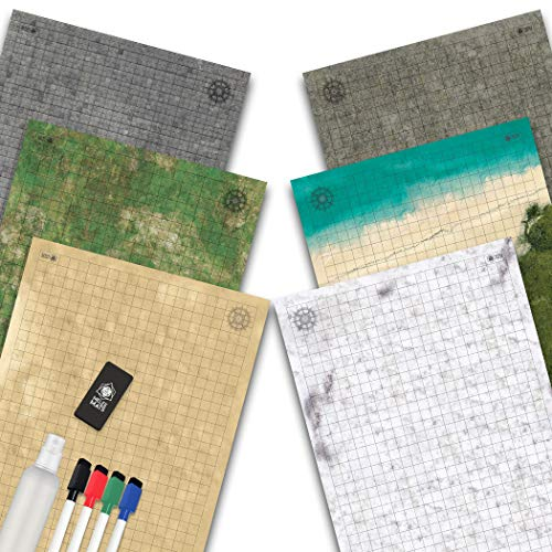 Battle Grid Game Mat - 3 Pack DOUBLESIDED - Portable Tabletop Role-Playing...