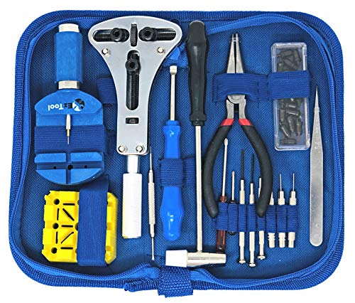 EZTool Watch Repair Kit with 16 Tools and 40-Page Instruction Guide