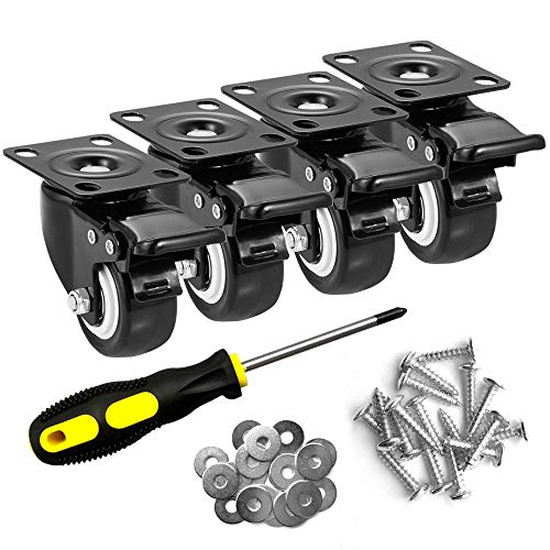 ASHGOOB 2' Caster Wheels Set of 4, Heavy Duty Casters with Brake, No Noise...