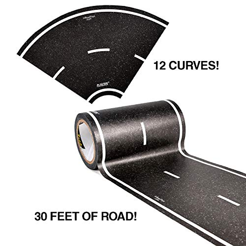 PlayTape Black Road Tape ― Includes Street Curves, Tape Toy Car Track for...