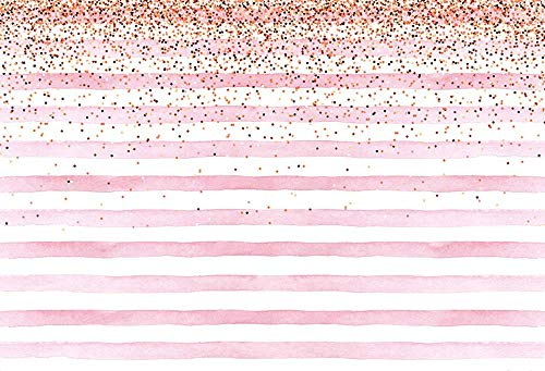 MEHOFOTO 8x6ft Photography Backdrops Banner Pink Stripe Gold Sequins Baby...