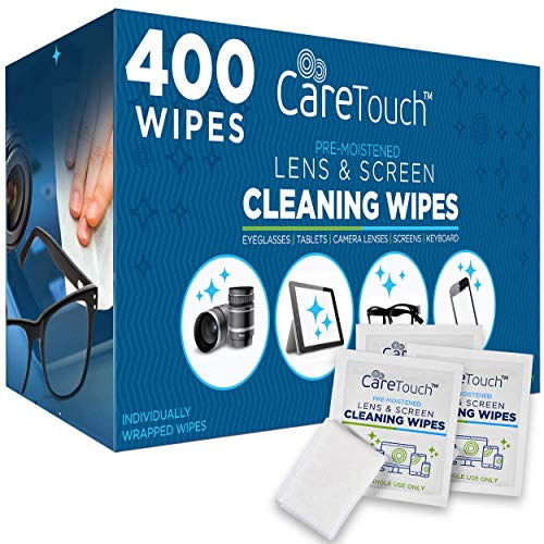 Care Touch Lens Cleaning Wipes - 400 Pre-Moistened and Individually Wrapped...
