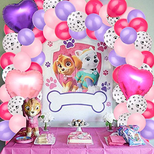 Paw Party Balloons Garland Arch Kit for Birthday Party Puppy Paw Party...