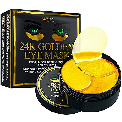 24K Gold Under Eye Collagen Patches for Puffy Eyes, Dark Circles & Bags -...