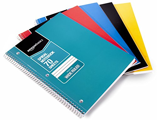 Amazon Basics Wide Ruled Wirebound Spiral Notebook, 70 Sheets, Assorted...