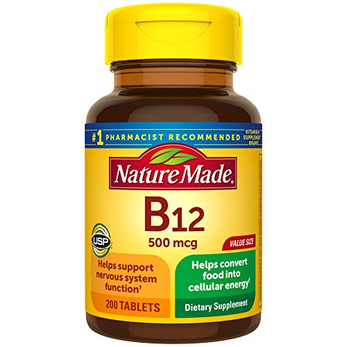 Nature Made Vitamin B12 500 mcg Tablets, 200 Count for Metabolic Health